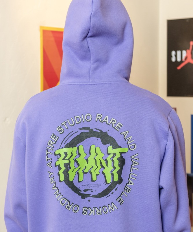 Unisex Regularfit 90's Logo Hoodie-Purple-F.ILLUMINATE