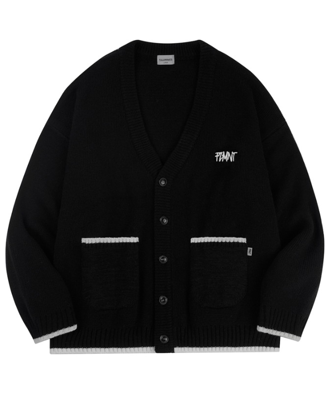 Unisex Overfit New Logo Line Cardigan-Black-F.ILLUMINATE