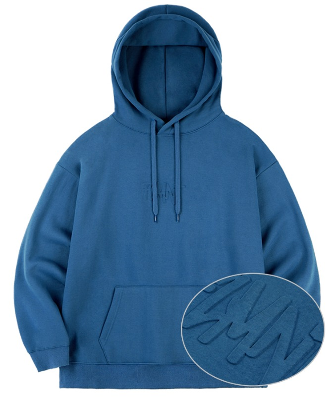 Unisex Overfit Press Logo Hoodie-Blue-F.ILLUMINATE