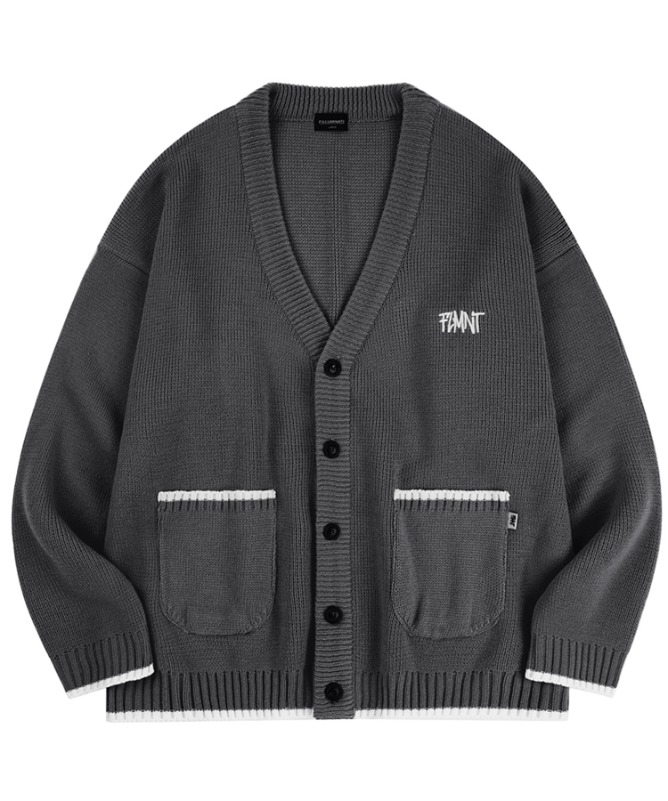 Unisex Overfit New Logo Line Cardigan-Charcoal-F.ILLUMINATE