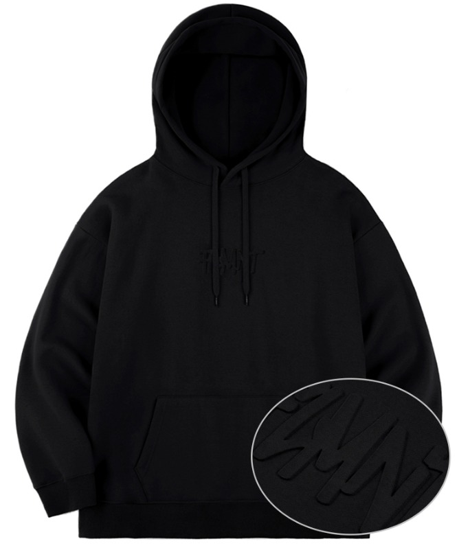 Unisex Overfit Press Logo Hoodie-Black-F.ILLUMINATE