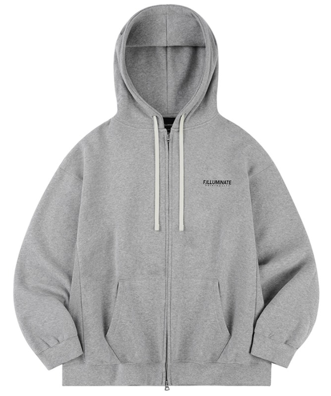 Unisex Overfit Pigment Logo Hood Zip Up-Grey10월 30일 예약배송-F.ILLUMINATE