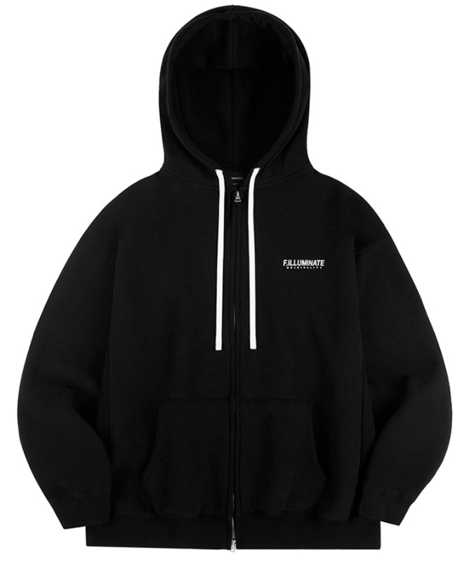 Unisex Overfit Pigment Logo Hood Zip Up-Black 10월 30일 예약배송-F.ILLUMINATE